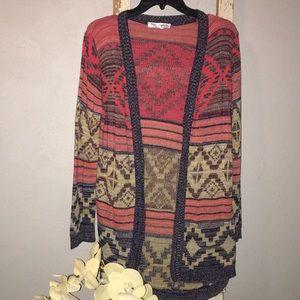 Ladies Aztec Cardigan Fall Lightweight Sweater